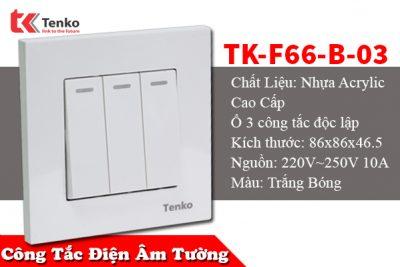 Công tắc âm tường 3 nút Tenko TK-F66-B-03 – Đế Vuông