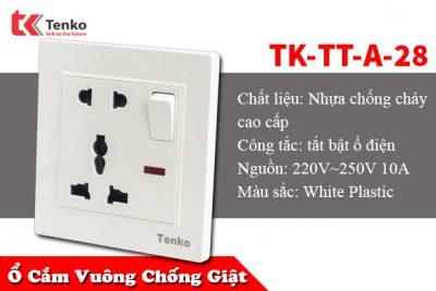 Ổ Cắm Điện Chống Giật Đôi Có Công Tắc TK-TT-A-28
