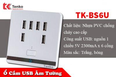 Ổ Cắm USB Âm Tường 6 Cổng Cao Cấp TK-BS6U