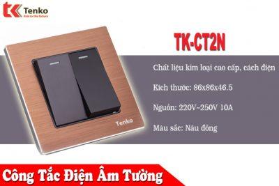 Công tắc Điện Âm Tường Mặt Hợp Kim Cao Cấp Giá Rẻ   TK-CT2N