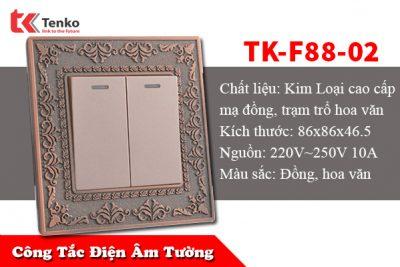 Mặt Công Tắc Điện Đôi 2 Nút Bấm TK-F88-02