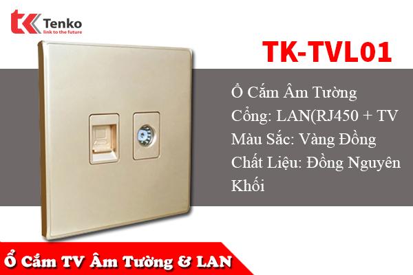 Ổ Cắm Cáp Đồng Trục và Mạng Âm Tường TK-TVL01