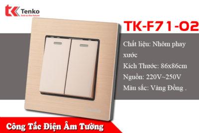 Công Tăc Điện Âm Tường 2 Nút Kim Loại Xước TK-F71-02