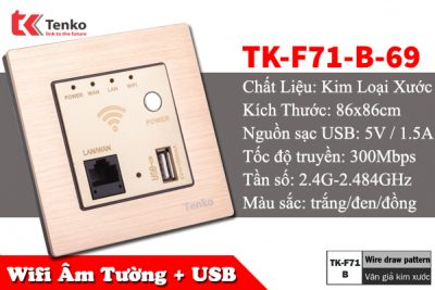 Mặt Wifi Âm Tường + USB Chuẩn N 300mbps TK-F71-B-69
