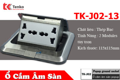 Ổ Cắm Điện Âm Sàn 3 Chấu Trắng Bạc Tenko TK-J02-13 Sliver