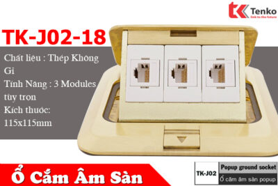 Ổ Điện Âm Sàn Đồng Thau 3 Modules Tích Hợp Tenko TK-J02-18