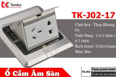 Ổ Cắm Điện Âm Sàn Popup Màu Bạc Cao Cấp Tenko TK-J02-17