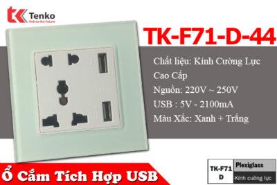 Ổ Cắm Vuông Có USB Mặt Kính Cường Lực Tenko TK-F71-D-44 Xanh Mint