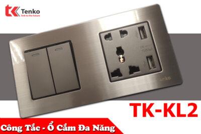Công Tắc – Ổ Cắm Đa Năng 2 Modules Mặt Kim Loại Tenko TK-KL2