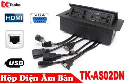 Hộp Ổ Điện Âm Bàn TENKO Tích Hợp Các Cổng HDMI/VGA/RJ45 TK-AS02DN Màu Đen